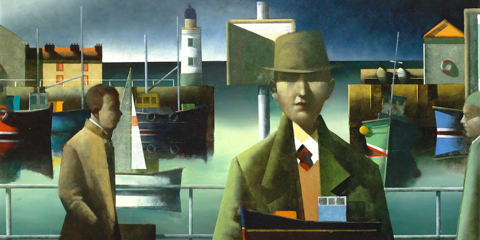 Stephen Mangan (British, born 1964) Figures on a harbour wall