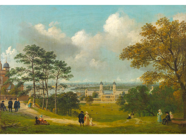 Circle of Thomas Shotter Boys (London 1803-1874) A view of London from the Greenwich Observatory with figures in the foreground