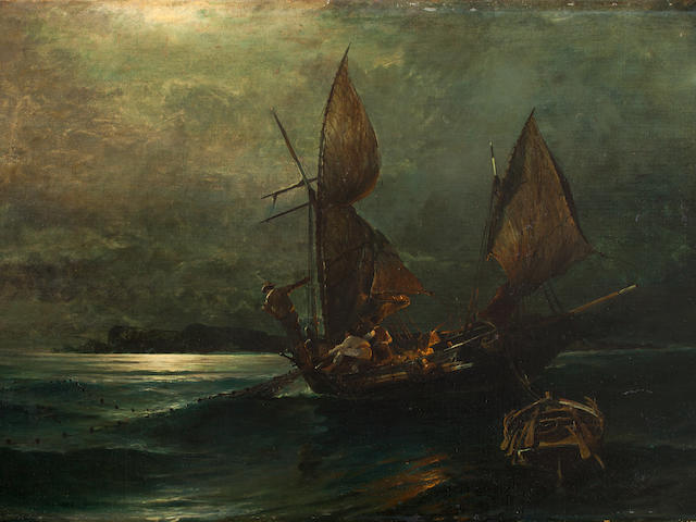 Constantinos Volanakis (Greek, 1837-1907) Fishing under the moonlight 48 x 93 cm.