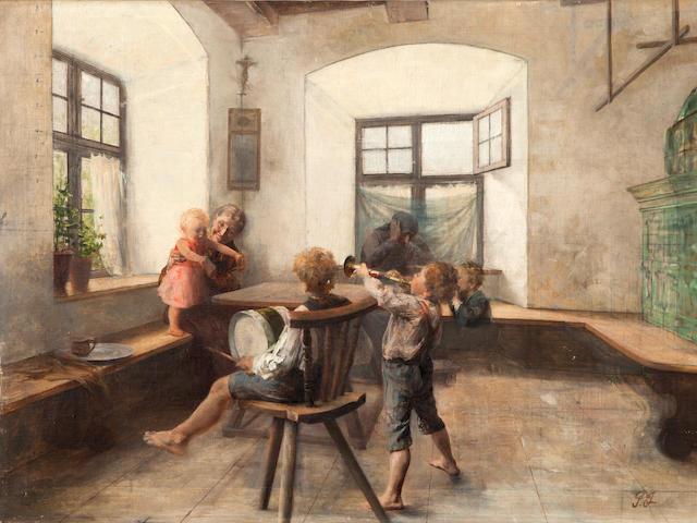 Georgios Jakobides (Greek, 1852-1932) Children's symphony 72 x 97 cm.