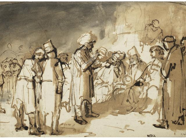 School of Rembrandt Harmensz. van Rijn (Leiden 1606-1669 Amsterdam) Joseph interpreting dreams unframed