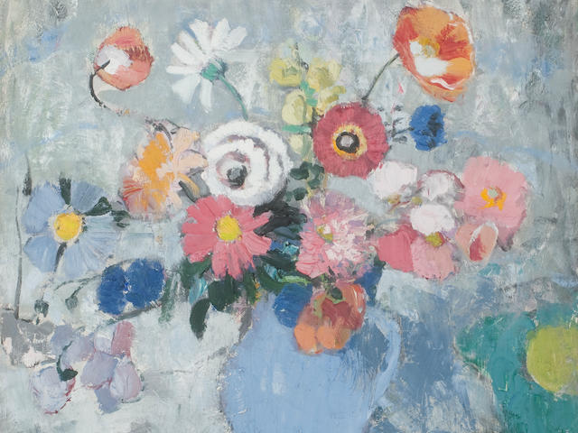 Anne Redpath OBE RSA ARA LLD ARWS ROI RBA (British, 1895-1965) Blue Jug with Summer Flowers 55.5 x 59.5 cm. (21 7/8 x 23 7/16 in.) Painted circa 1955