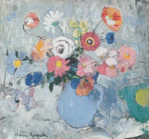 Anne Redpath OBE RSA ARA LLD ARWS ROI RBA (British, 1895-1965) Blue Jug with Summer Flowers 55.5 x 59.5 cm. (21 7/8 x 23 7/16 in.) Painted circa 1955