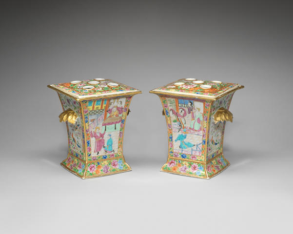 A pair of Canton famille rose bough pots 19th century (4)