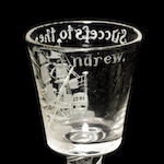 An important mixed twist Privateer wine glass for the St Andrew, circa 1760
