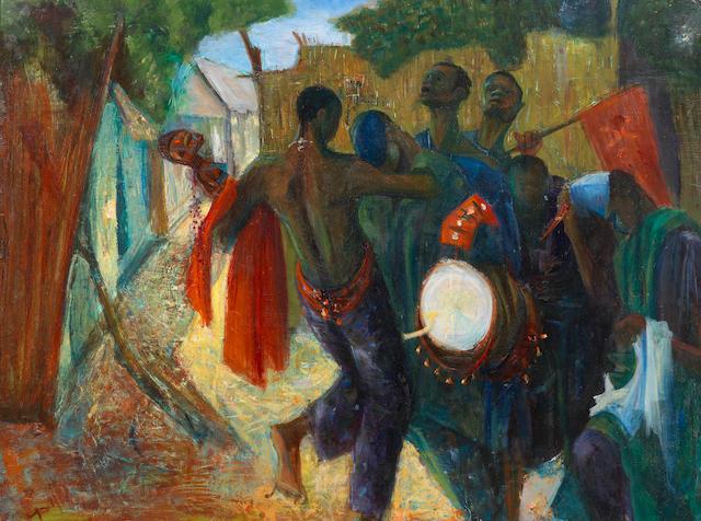 Yusuf Adebayo Cameron Grillo (Nigerian, born 1934) Drummers and Dancers