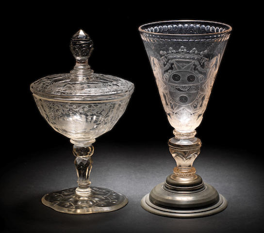 A Potsdam Hochschnitt goblet and a Silesian sweetmeat glass and cover, early-mid 18th century