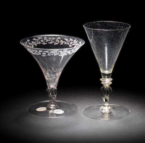 Two façon de Venise wine glasses, late 17th - early 18th century