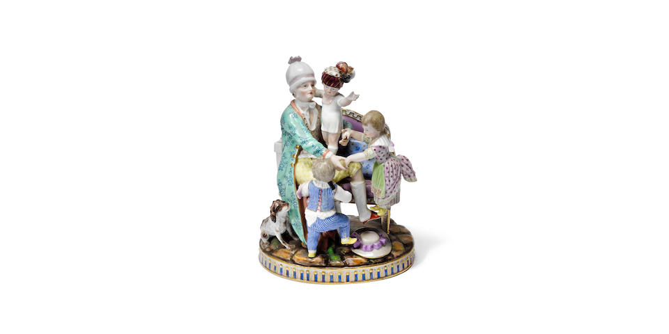 A Meissen group of 'The Good Father', mid 19th century