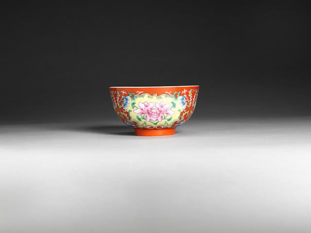 A fine famille rose coral-ground 'peony' bowl Underglaze blue Daoguang seal mark and of the period