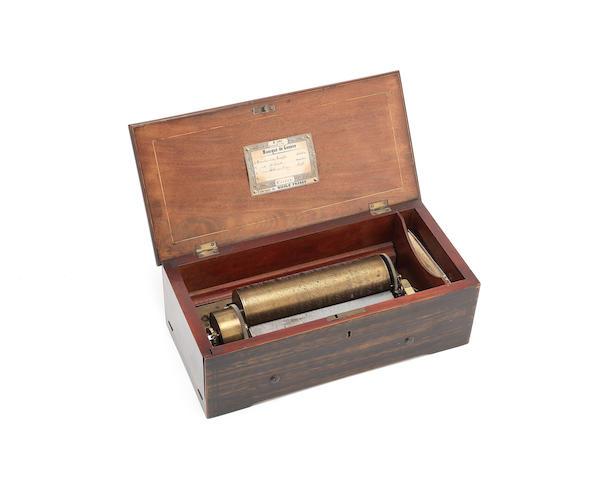 A Nicole Freres key-wound overture cylinder music box, Swiss, Mid-19th century,