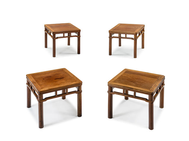 A very rare set of four huanghuali square stools, fangdeng 16th/17th century  (4)