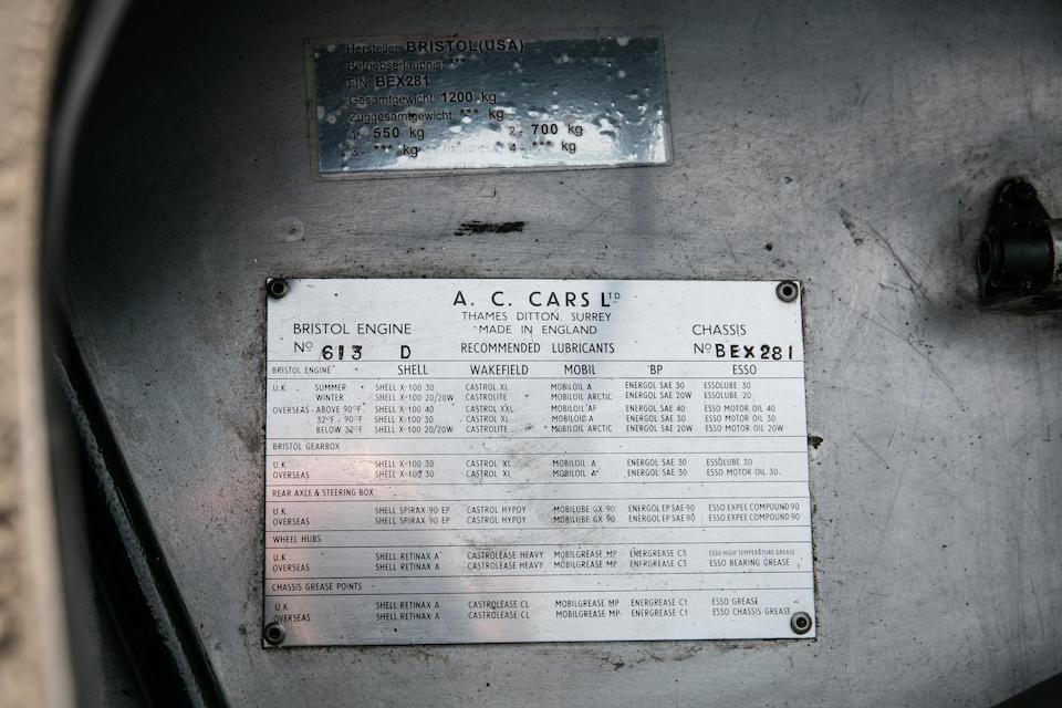 Ex-Jean Claude Bajol ,1957 AC Ace Bristol Roadster  Chassis no. BEX 281 Engine no. 100D 528