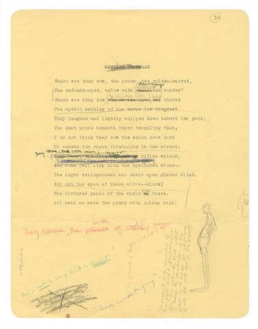 """PLATH (SYLVIA) Typescript draft with autograph revisions of her poem ʻSeek No More the Young', here with the deleted typed title """"Latvian Threnody"""", [March 1949]"""