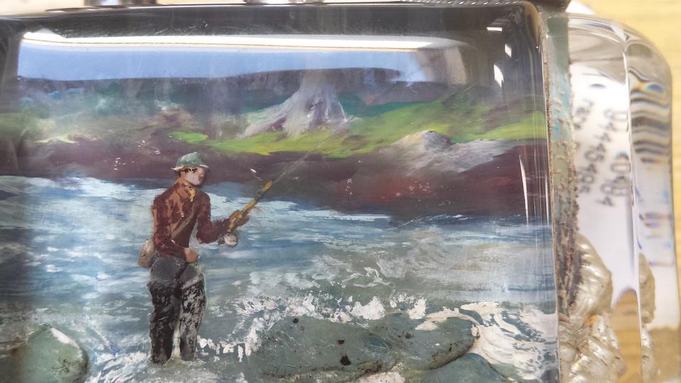 "DUNHILL: A rare  Salmon Fisherman ""Aquarium"" lighter"