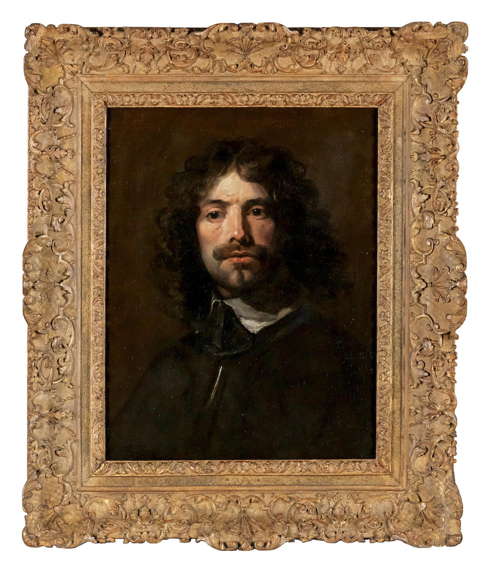 William Dobson (London 1611-1646) Portrait of the artist, bust length in a black tunic and white collar