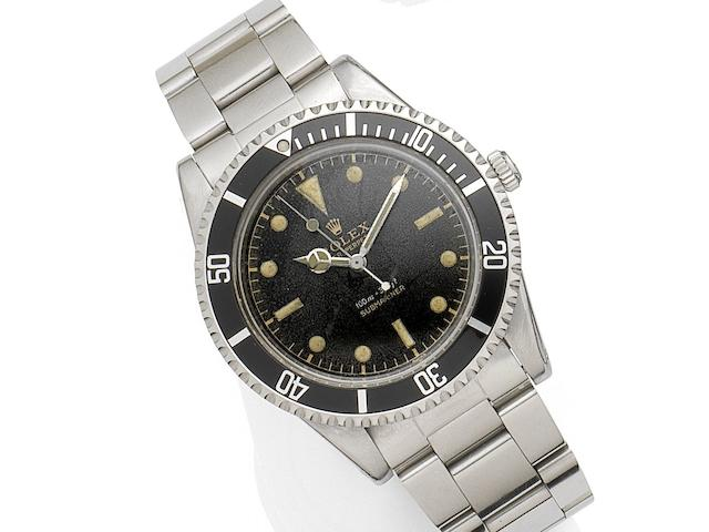 Rolex. A stainless steel automatic bracelet watch Submariner, Ref:5508, Serial No.489***, Movement No.591**, Circa 1959