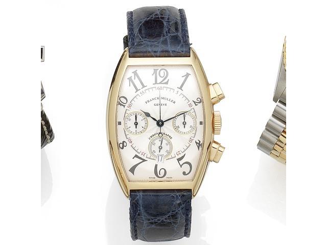 Franck Muller. An 18K rose gold automatic calendar chronograph wristwatch Ref:5850 CC AT, No.59, Circa 1990