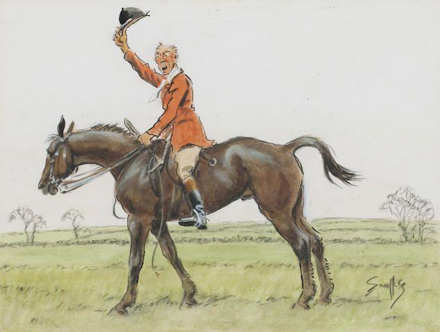 Charlie Johnson Payne, 'Snaffles' (British, 1884-1967) John Jorrocks and Jim Pigg  17 x 26.5cm (6 11/16 x 10 7/16in) and 21 x 26cm (8 1/4 x 10 1/4in). ((2))