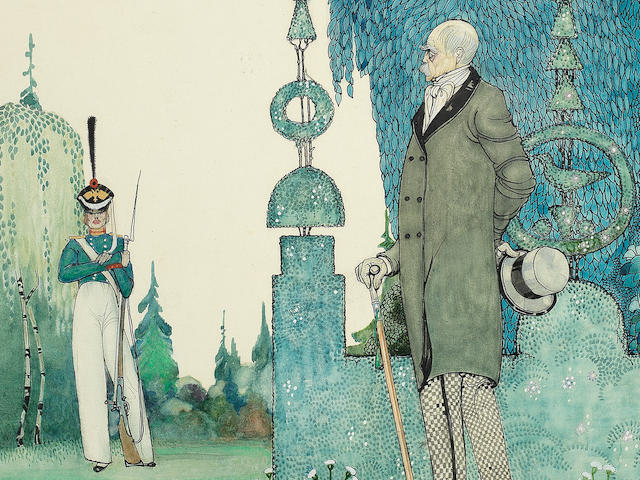 "NIELSEN (KAY) 'Prince Bismarck discovering the soldier', from ""In Powder and Crinoline"", 1913"