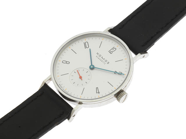 Nomos. A stainless steel manual wind wristwatch Model: Tangente Gerrit 1918