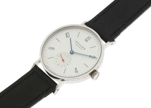 Nomos. A stainless steel manual wind wristwatch Model: Tangente Gerrit 1918