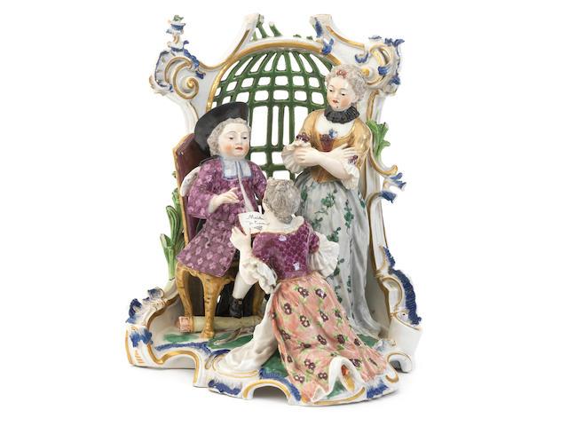 A rare Frankenthal arbour group, circa 1756-59