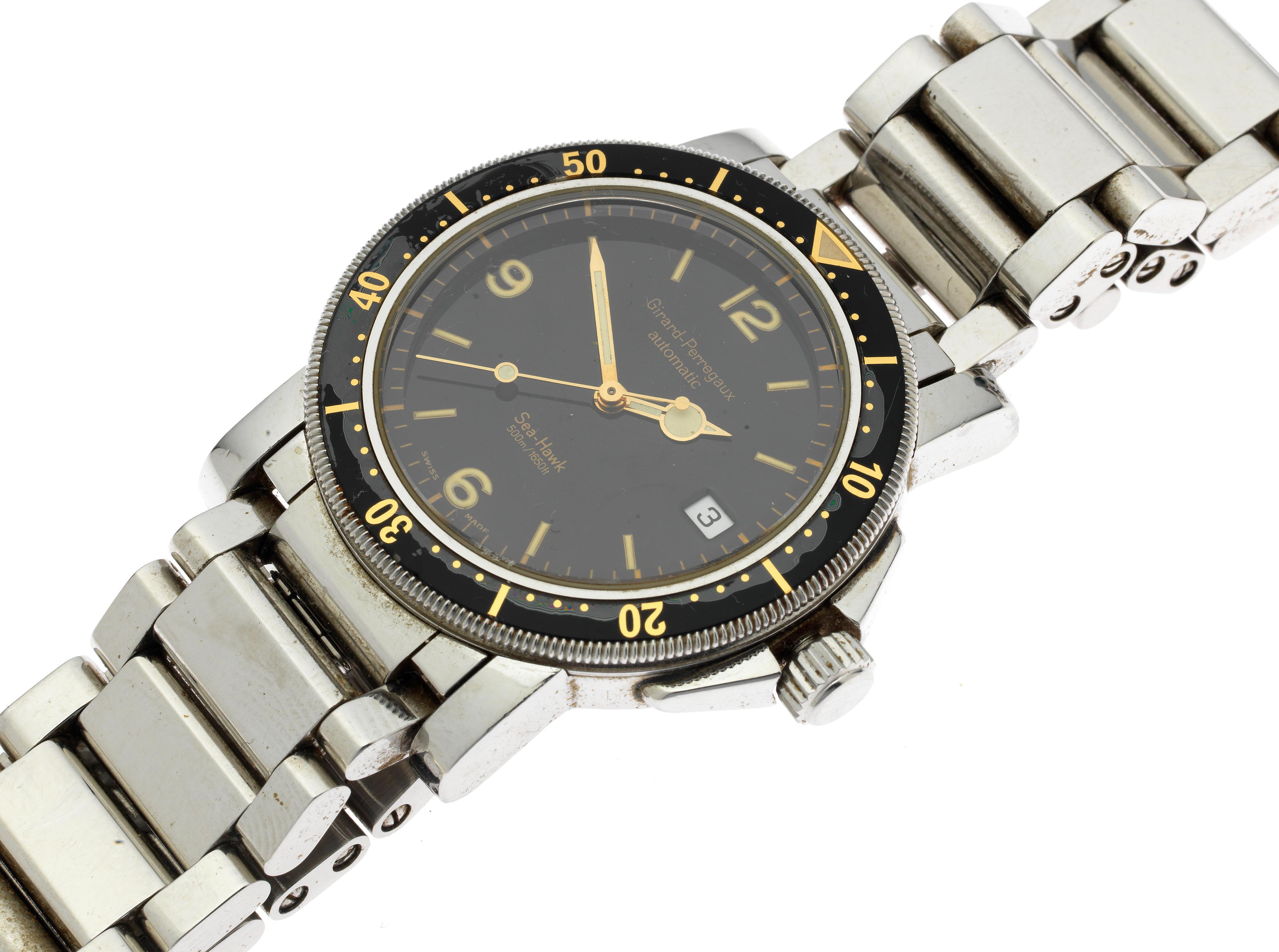 Girard Perregaux. A stainless steel automatic calendar bracelet watch Model: Seahawk
