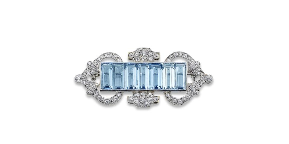 An Art Deco aquamarine and diamond brooch
