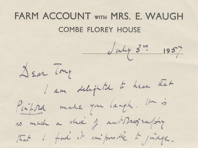 "WAUGH (EVELYN) Series of forty-two autograph letters and cards signed (""Evelyn Waugh"", ""Evelyn"", ""E.W."" and ""E""), to his fellow novelist Anthony Powell (""Dear Tony"") and wife Lady Violet; London, Piers Court, Combe Florey and elsewhere, 1927-1964"