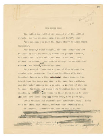 "PLATH (SYLVIA) Typescript draft, with autograph revisions, of her story ""The Green Rock"", and typescript of ""Gramercy Park"", with occasional annotations, 1948-9"