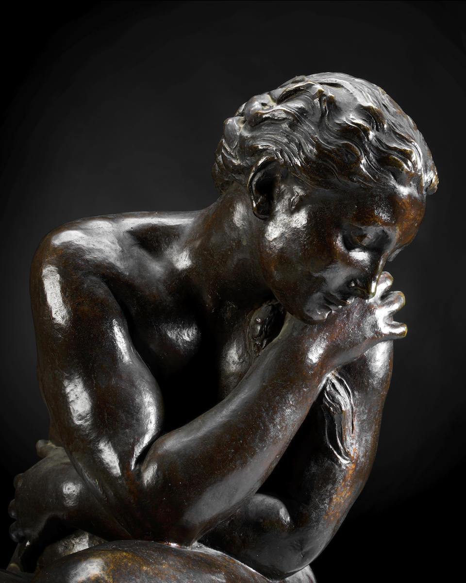 Aimé-Jules Dalou, (French, 1838-1902): A bronze figure of 'Baigneuse Avant Le Bain (Bather before the bath)'
