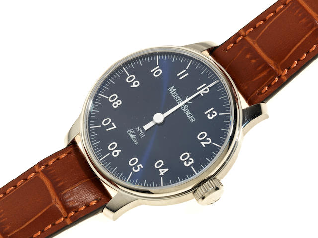 MeisterSinger. A stainless steel manual wind wristwatch Model: No.1 Edition