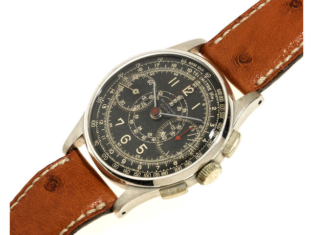 Berthoud. A stainless steel manual wind chronograph wristwatch