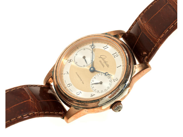 Glashütte Original. A rose gold plated manual wind calendar wristwatch