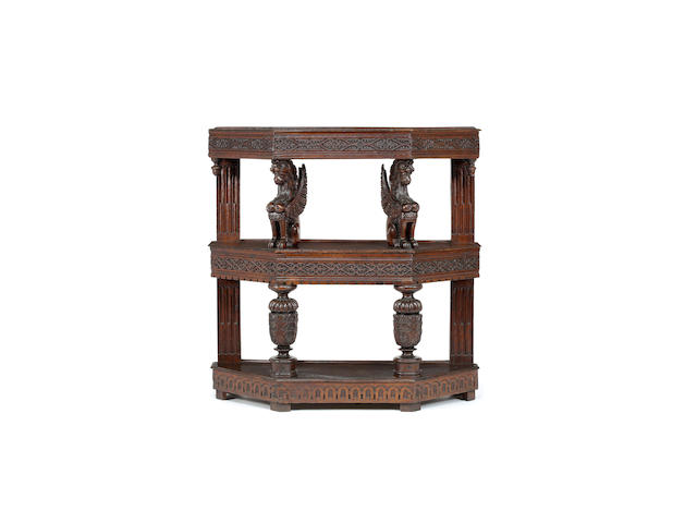 An exceptional rare and small Elizabeth I joined oak canted three-tier 'buffet' or court cupboard, circa 1580