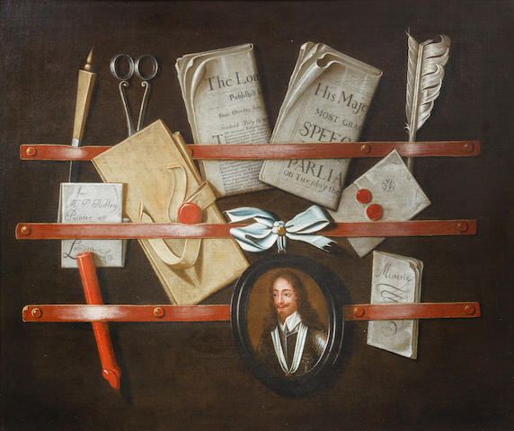 Edward Collier and possibly Studio  (Breda circa 1640-circa 1706 London) A trompe l'oeil still life of a letter rack with letters, pamphlets,