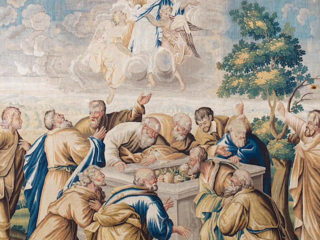 An early 18th century Flemish biblical tapestry, 320cm x 226cm