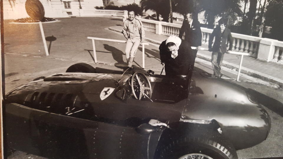 A Lancia D-50 wooden rimmed spare steering wheel formerly the property of Juan Manuel Fangio, mid 1950s,