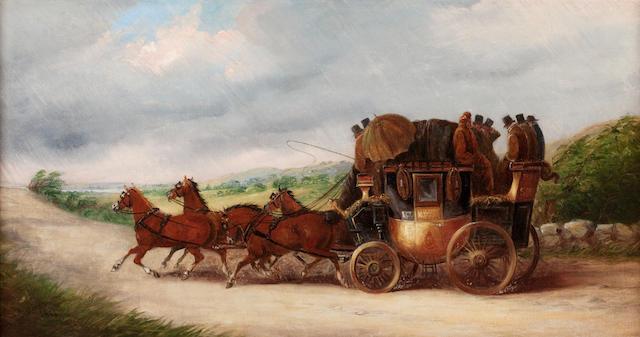 John Charles Maggs (British, 1819-1895) The Bristol to Bath coach in a rainstorm; and a coach in snow outside an Inn (a pair, (2))