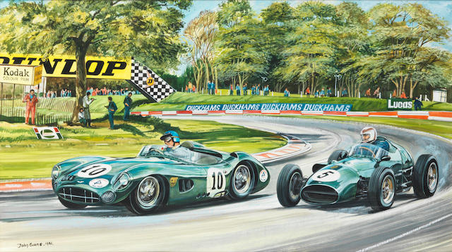 John Evans (British 1943-), 'Aston Martin DBR1/1 and DBR4 racing at Druids',