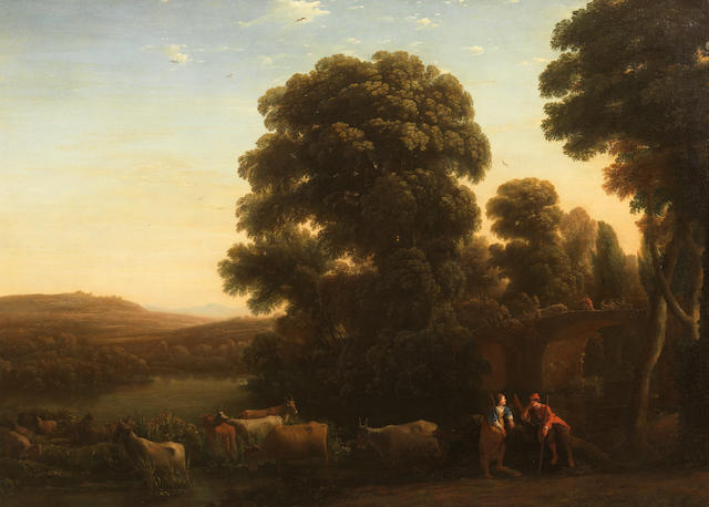 Claude Gellée, called Claude Lorrain (Champagne 1600-1682 Rome) A pastoral landscape with a shepherd and shepherdess beside their livestock in an Arcadian landscape with drovers on a bridge beyond