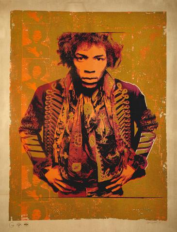 Gered Mankowitz (British B. 1946): Jimi Hendrix, a screen-print,