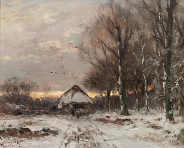 Louis Apol (Dutch, 1850-1936) Returning to the sheep shed
