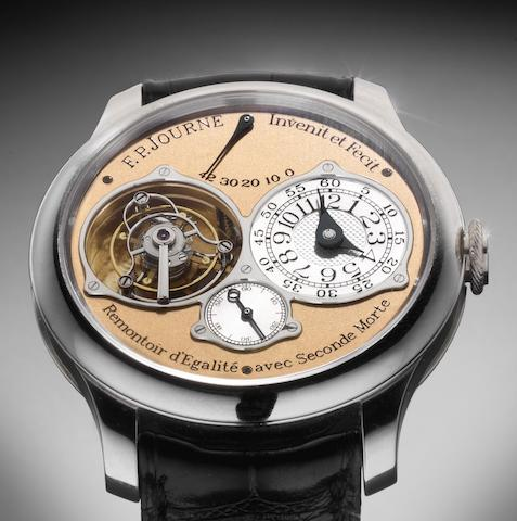 F. P. Journe. A very fine and unusual platinum manual wind tourbillon wristwatch with rare dead seconds, rementoir and power reserve Dead Seconds Tourbillon, No.516-TN, Sold 5th April 2009