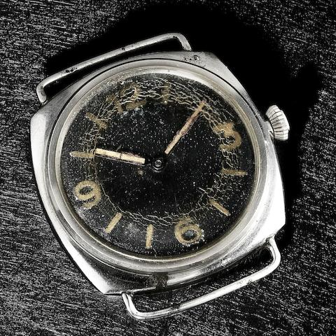 Rolex. An oversize rare stainless steel cushion form manual wind military issue divers wristwatch made for the German Navy Ref:3646, Serial No.260***, Circa 1940