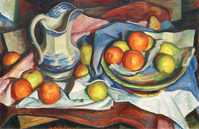 James Stroudley (British, 1906-1988) Still life of fruit and blue and white jug