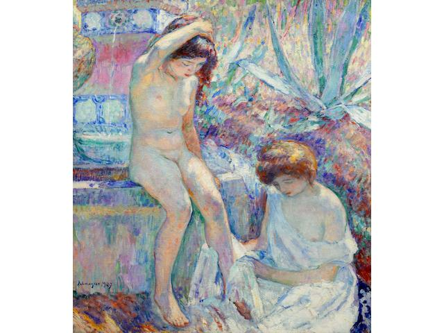 Henri Lebasque (French, 1865-1937) Villa Demière, Madame Lebasque et Marthe à la fontaine (Painted in 1907)