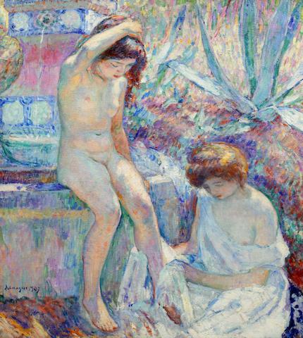 Henri Lebasque (French, 1865-1937) Villa Demière, Madame Lebasque et Marthe à la fontaine (Painted in 1907)