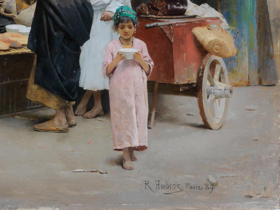 Raphael von Ambros (Austrian, 1855-1895) A street vendor